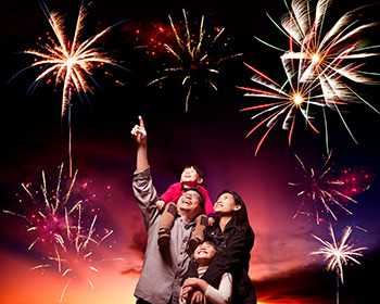 family with fireworks_