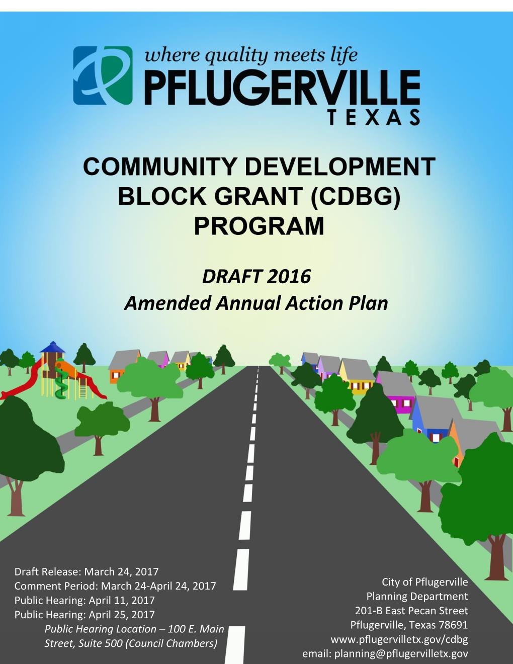 2016 Amended Action Plan - Draft for Public Review cover sheet